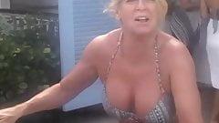 Mature Blonde Bikini Wife with Great Tits on Bike
