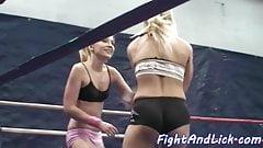 Lesbian babes wrestling on the floor