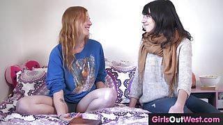 Hairy lesbian ginger and brunette fuck
