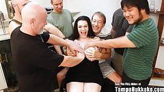 Big Tit Shorty Brunette Bukkake Blast