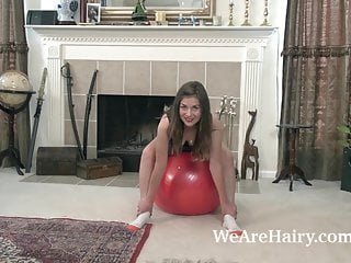 Strip fitness class - Ophelia jones strips naked while on her fit ball