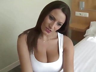 Brunette milf cum - German hot milf cum tits