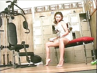 Sexy crossdresser clothing Sexy brunette strips her gym clothes and fucks a nice pink dildo in her cunt
