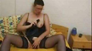 Check My MILF Amateur granny in black stockings playing