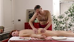 Amy Ledenez being massaged by an older dude