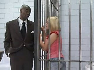 Jail house cock clip Beautiful blonde in jail gives a black cock a great workout