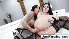 Dirty oiled up sexual escapades with Jenevieve and Charlotte