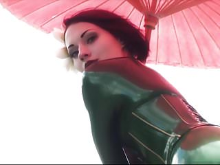 Latex green cymbidium Beautiful girl modelling green catsuit