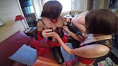 Two matures shemales ans slave