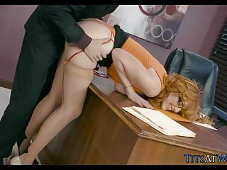 Bent dicks Redhead bent over and fucked on office desk