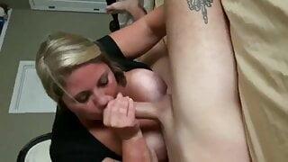 Wife gives boyfriend a blowjob