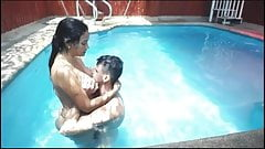 Three guys and one girl fuck in the pool