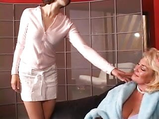 Teens in lingerie fetish - Hot mature blond gets her tits grabbed by hot young brunette