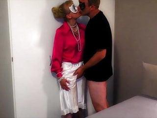 Bottom half rimless glesses - Pink satin blouse, satin half slip, black satin panties