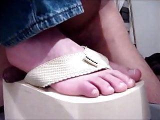 Thongs fetish Shoejob fucking thong platform flip flops and feet