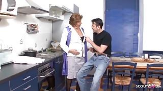 Grandson Seduce Hairy Granny to Fuck - German Vintage Porn
