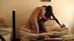 Slender amateur ebony babe gets banged by white stud