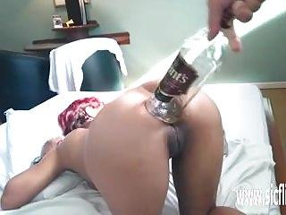 Cute xl sluts Brutal anal fisting and xl whiskey bottle fuck