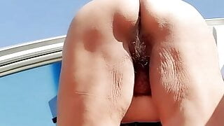 Watering the desert with my hairy pussy pee! Mature woman