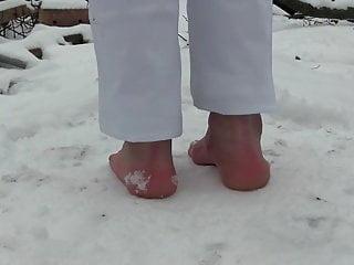 Nude boys in snow Foot in snow.