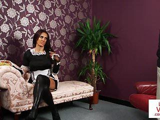 Dick jerking maid - English maid voyeur instructing guy to jerk