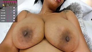 Anahi sucks her big brown boobs