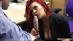 Bust redhead secretary is slammed by a big-dick