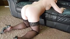 chubby wife in black stockings and heels