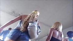 Blonde slut in sexy jeans shorts