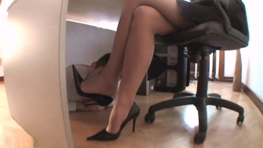 Foot Worship Under The Desk