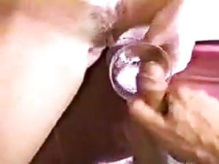 Drinking cum from a champagne glass and Blonde drinks cum from a glass
