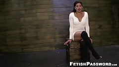 Facialized sub gets her holes stretched with toys and machin