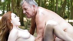 Sexy young redhead seducing grandpa and has incredible sex