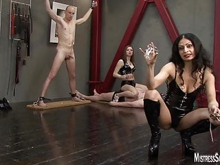 Femdom and cbt Two mistresses inflict cbt and trample before milking balls