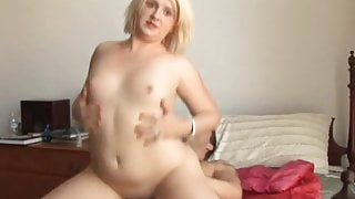 Lovely, cuddly, chubby blonde is a super hot fuck