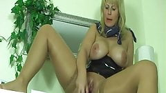 Blonde busty milf dildoing her pussy