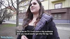 Public Agent, Celeb lookalike Sereyna Gomez fucked on stairs