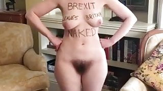 Naked Brexit Protesting Woman with Big Breasts and Nice Bush
