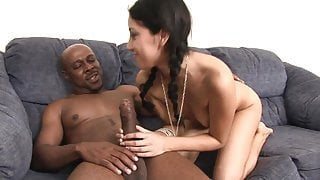 Horny babe with small tits gets doggy style fuck on the sofa