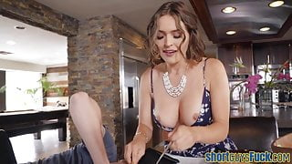 Bigtits cougar fucked by little guy before blowjob