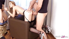 Tiny German Sister MaryHaze caught and fucked by Stepbrothers