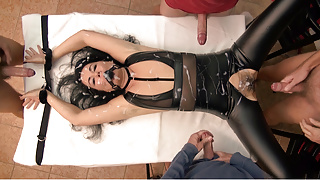 Tied up and defenseless! Fuck meat for fucking and jerking off!
