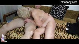 Granny with hairy pussy fucking boy