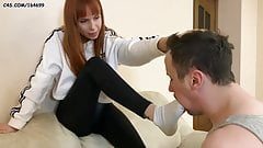Slave Sniff Kira's Sweaty Socks and Puts Them in Mouth