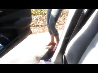 Pissing pants public I was too late so i wetted my tight pants next to the car