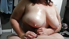 BUSTY WIFE MAKING MY COCK CUM WITH HER TITS