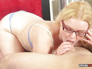 Geeky girl sucking cock Geeky blonde sucking a hard cock in pov