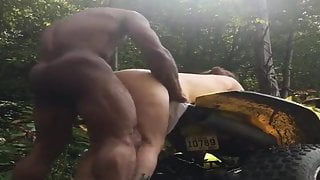 Redneck wife fucked by black bull out in the woods