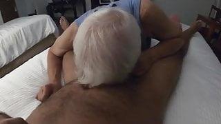 White haired grandpa sucking hairy man's cock