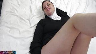 Horny nun gets cock up her ass